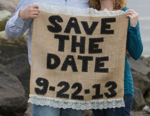 burlap & lace save the date sign
