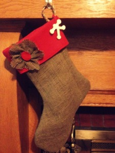 burlap & felt christmas stocking